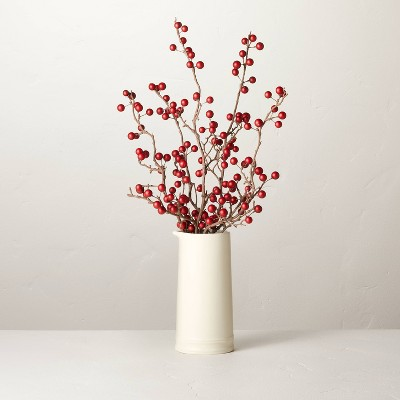 """18"""" Faux Red Berry Ceramic Arrangement - Hearth & Hand™ with Magnolia"""