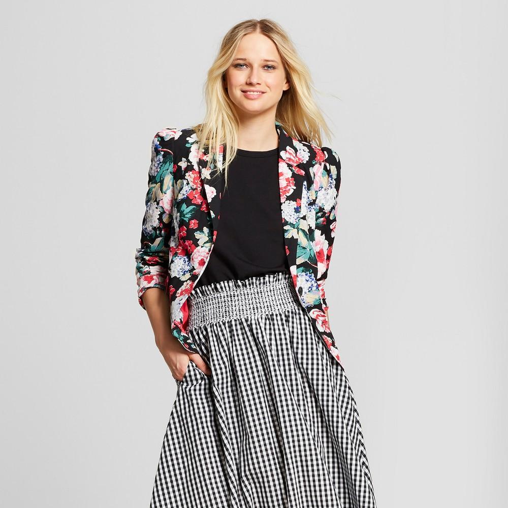 Women's Floral Print Silky Blazer - Who What Wear Black/Pink M, Black/Pink Floral