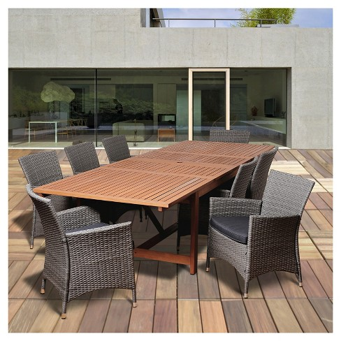 Palm Beach 9pc Eucalyptus/Wicker Extendable Rectangular Patio Dining Set - Black - image 1 of 5