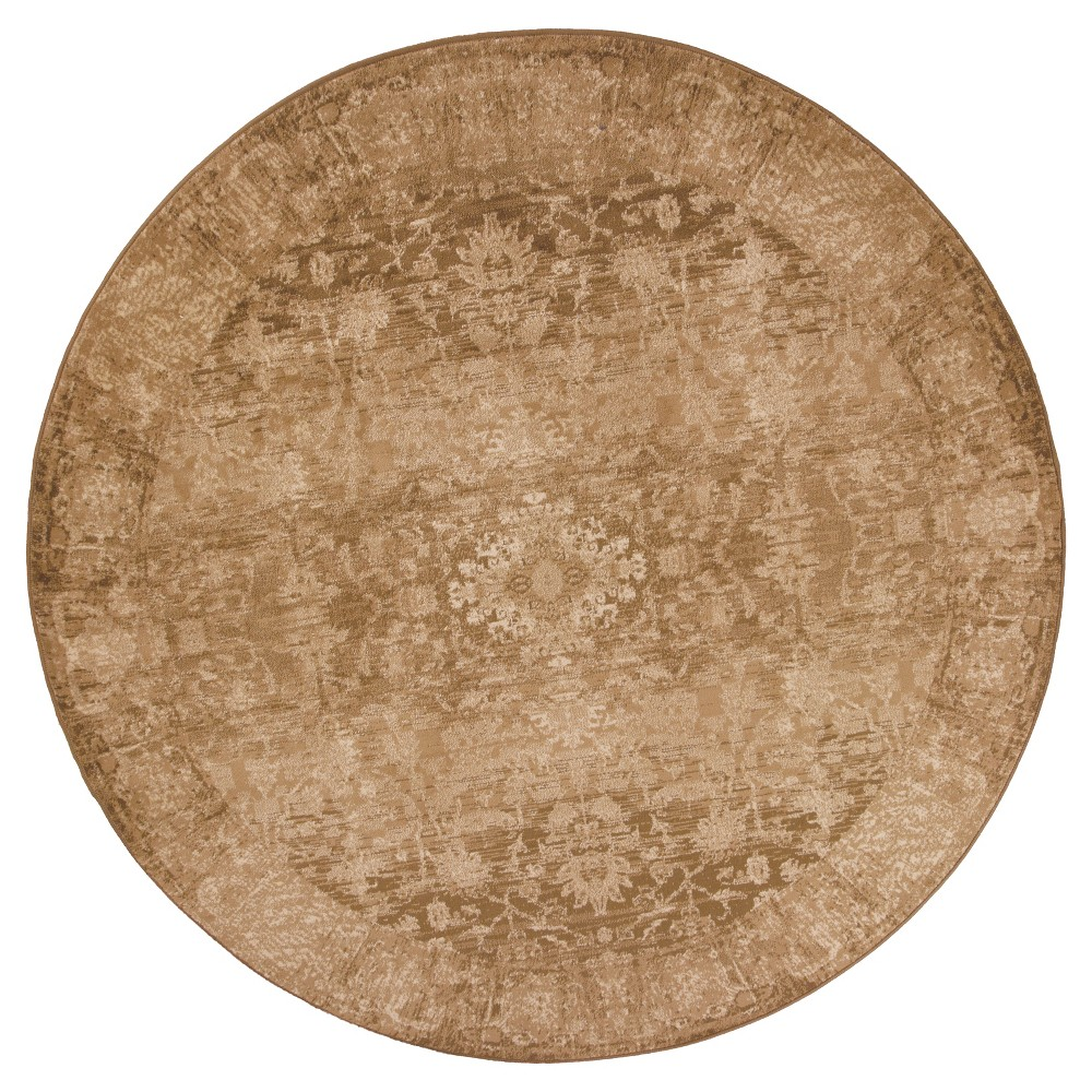 "Image of ""Beige Damask Pressed/Molded Round Area Rug 7'7"""" - KAS Rugs, Size: 7'7"""" Round"""