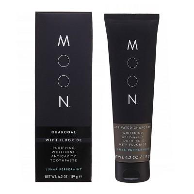 Moon Charcoal Fluoride Whitening Toothpaste - Vegan, Paraben + SLS Free - 4.2oz