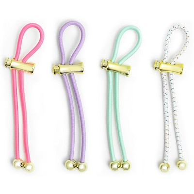Pulleez Pony Party Set of 4 Variety Pack Gold Metalized Charms Elastic Hair Tie Holder, 1 each