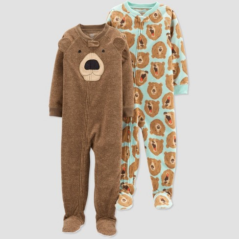 Toddler Boys' Bear Fleece One Piece Pajama - Just One You® made by carter's Brown - image 1 of 1