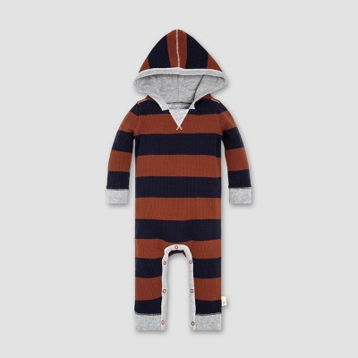 Burt's Bees Baby® Baby Boys' Thermal Rugby Stripe Coverall - Midnight 3-6M
