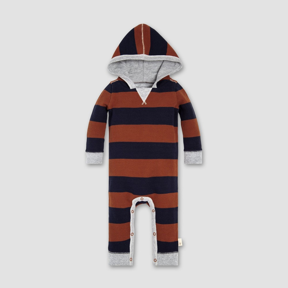 Burt's Bees Baby Baby Boys' Thermal Rugby Stripe Coverall - Midnight 3-6M, Blue
