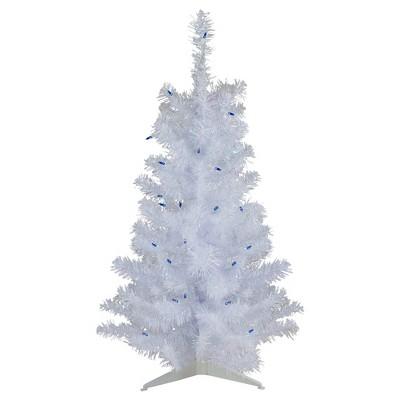 Northlight 3' Prelit Artificial Christmas Tree White Pine Slim - Blue Lights