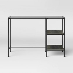 Fulham Glass Writing Desk with Storage Black - Project 62™