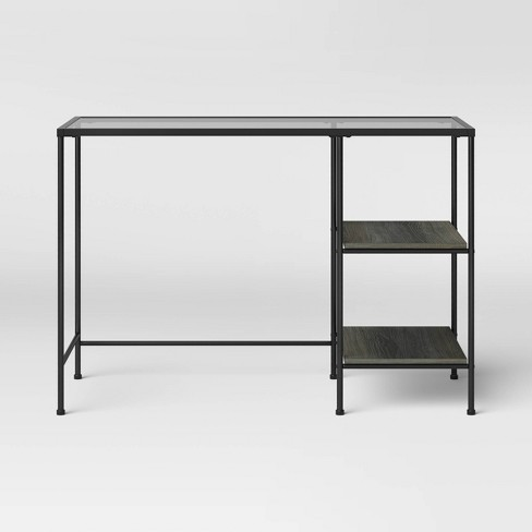 Fulham Glass Writing Desk with Storage Black - Project 62™ - image 1 of 4