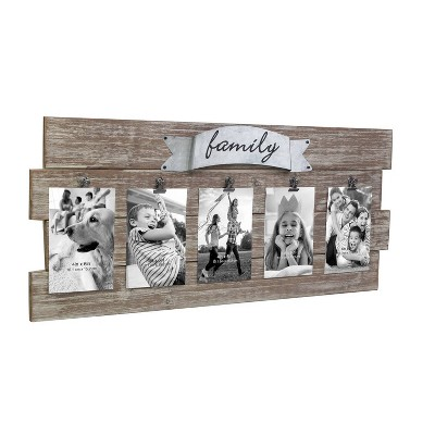 "26.4"" x 11.6"" Rustic Wooden Collage Photo Frame with Clips Worn White/Brown - Stonebriar Collection"