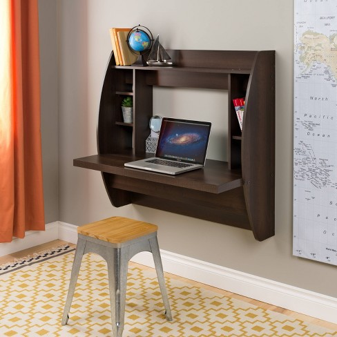Floating Desk with Storage Espresso - Prepac - image 1 of 6