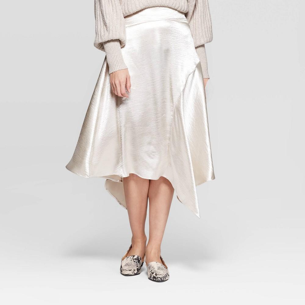 Image of Women's Mid-Rise Satin Scarf Hem Asymmetric Midi Skirt - Prologue White 10, Women's, Gray