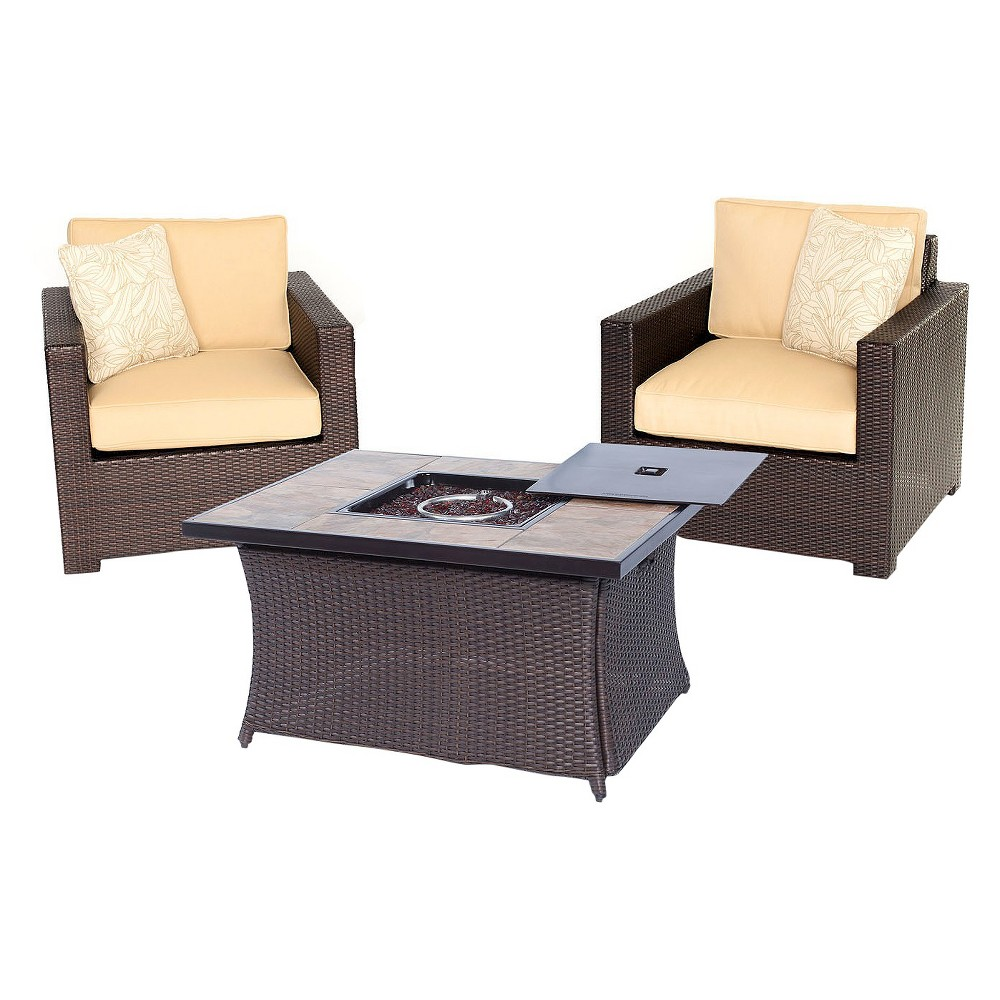 Image of Hanover Metropolitan 3-Piece Chat Set & LP Gas Fire Pit Table withPorcelain Stone Tiles - Sahara Sand, Corolla Sand