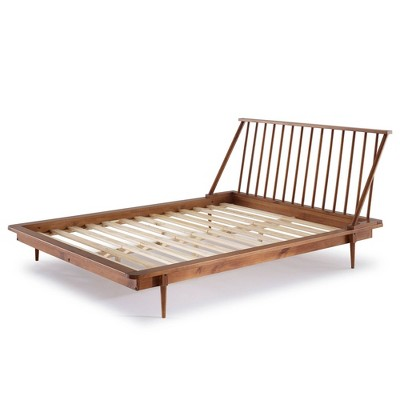 Queen Aurora Boho Solid Wood Spindle, Walnut Spindle Bed Queen