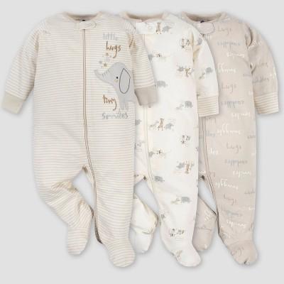 Gerber Baby 3pk Safari Zip-Front Sleep N' Play - Gray 0-3M