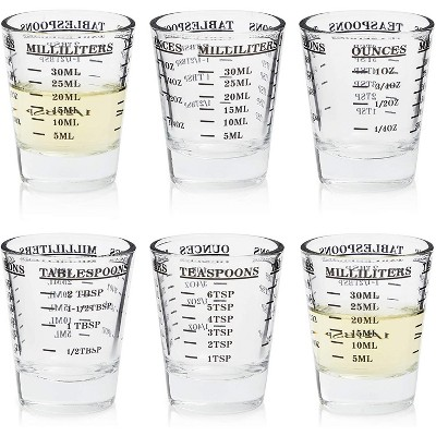 Okuna Outpost 6 Pack Clear Measuring Cup Wine Glass Espresso Shot Glasses, 1 oz / 30 ml