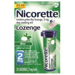 Nicorette 2mg Stop Smoking Aid Nicotine Lozenge - Mint - 24ct