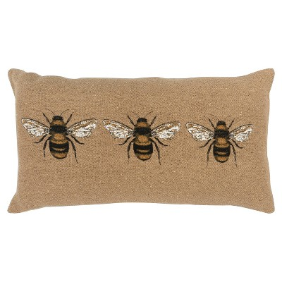 Bees Poly Filled Pillow Brown - Rizzy Home