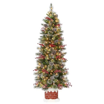 6ft National Tree Company Wintry Pine Half Tree in Red Brick Chimney Base with Berries Cones & 200 Clear Lights