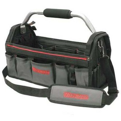 """WESTWARD 32PJ34 Tool Tote, 600d Polyester, 11 Pockets, Black, 10-1/4"""" Height"""