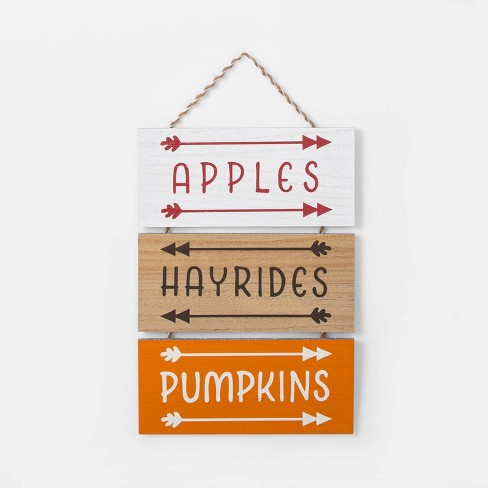 Harvest Pumpkins/Apples/Hayrides Hanging Wall Sign - Spritz™ - image 1 of 1