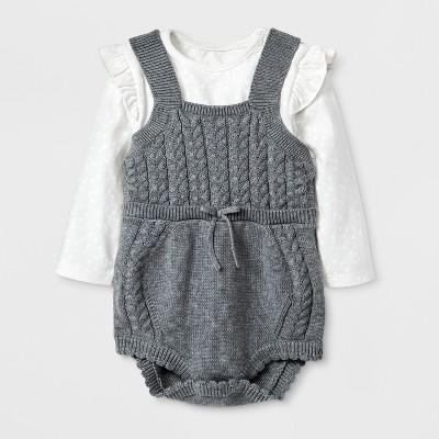 Baby Girls' 2pc Bodysuit and Sweater Romper Set - Cat & Jack™ Heather Gray 3-6M
