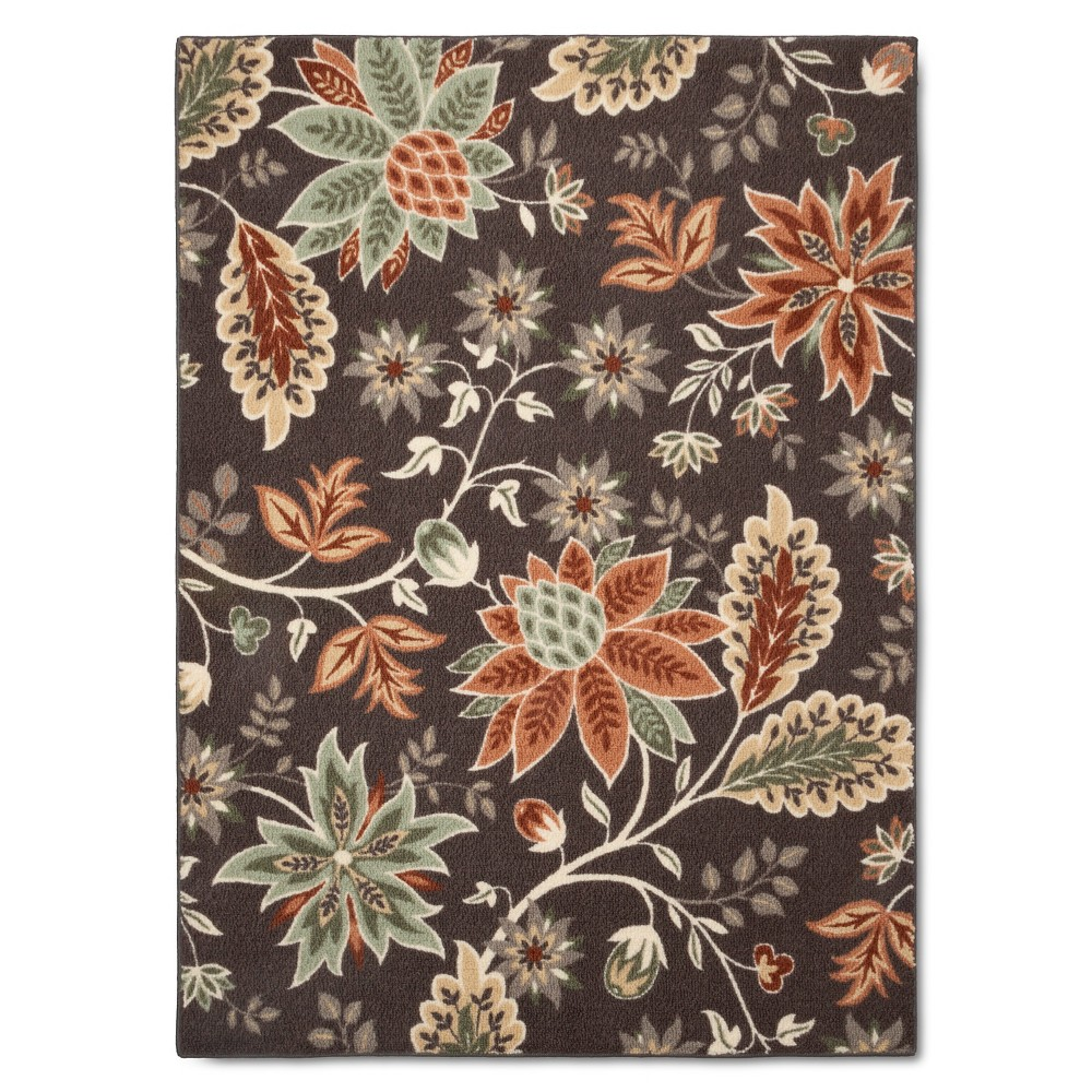 Image of 4'X5'6 Floral Area Rug Gray - Maples