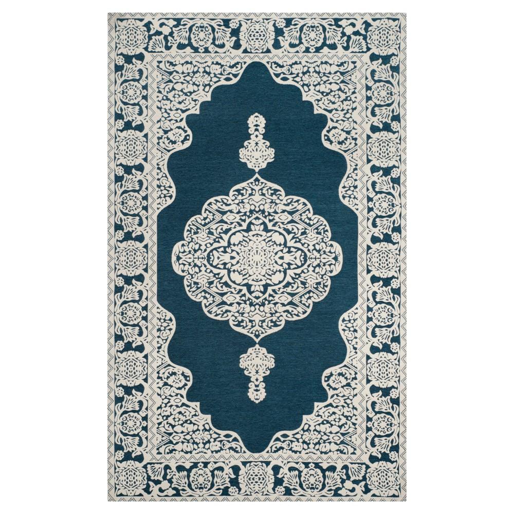 Dark Blue Ivory Abstract Woven Area Rug 5 39 X8 39 Safavieh