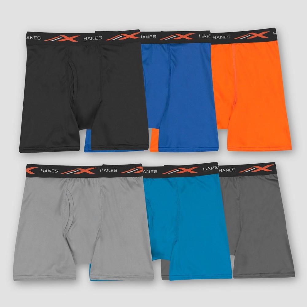 Hanes Boys' 6pk Xtemp Poly Mesh Boxer Briefs - Colors Vary L, Multicolored