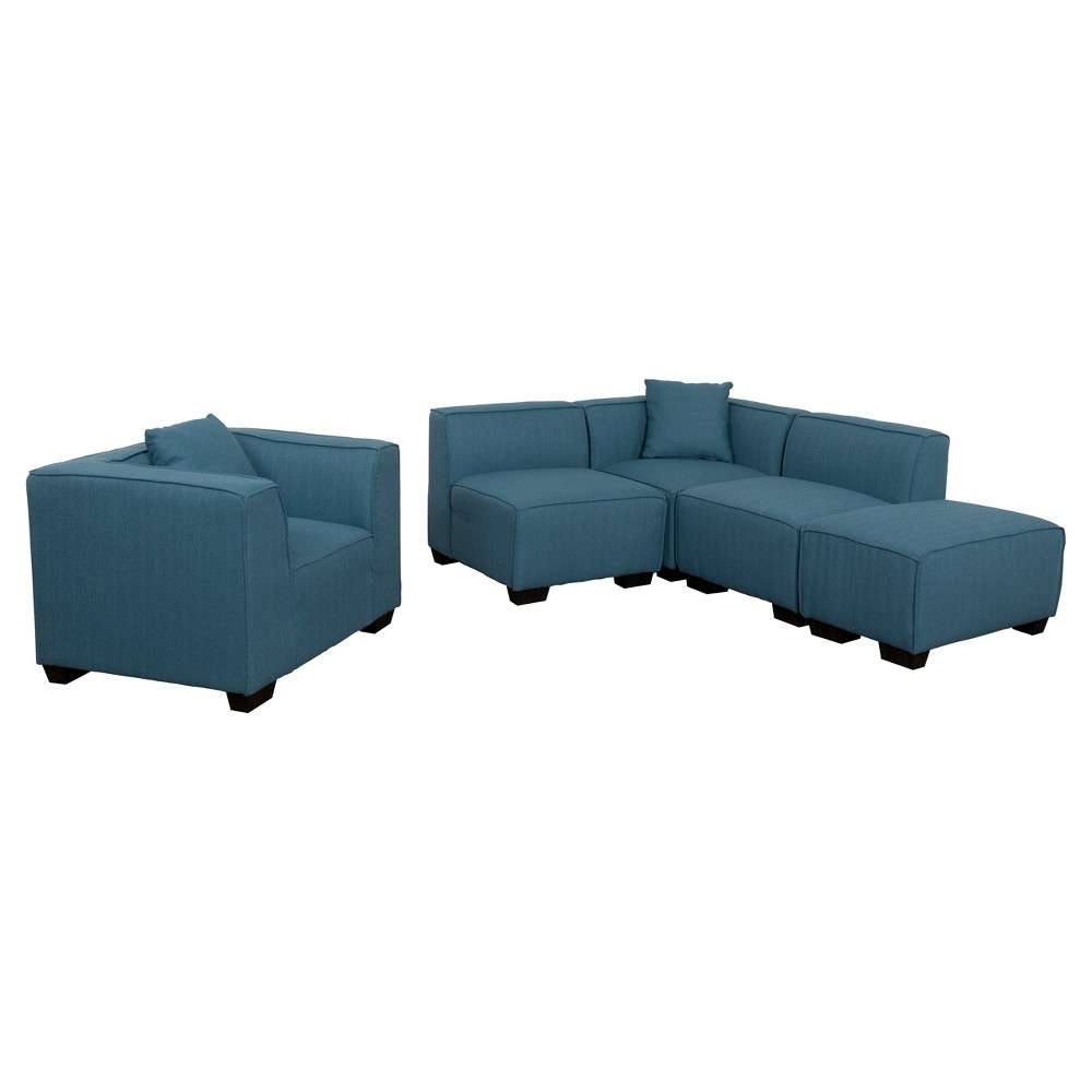 Lida 5 Piece Blue Sectional Chaise and Chair Set - Corliving