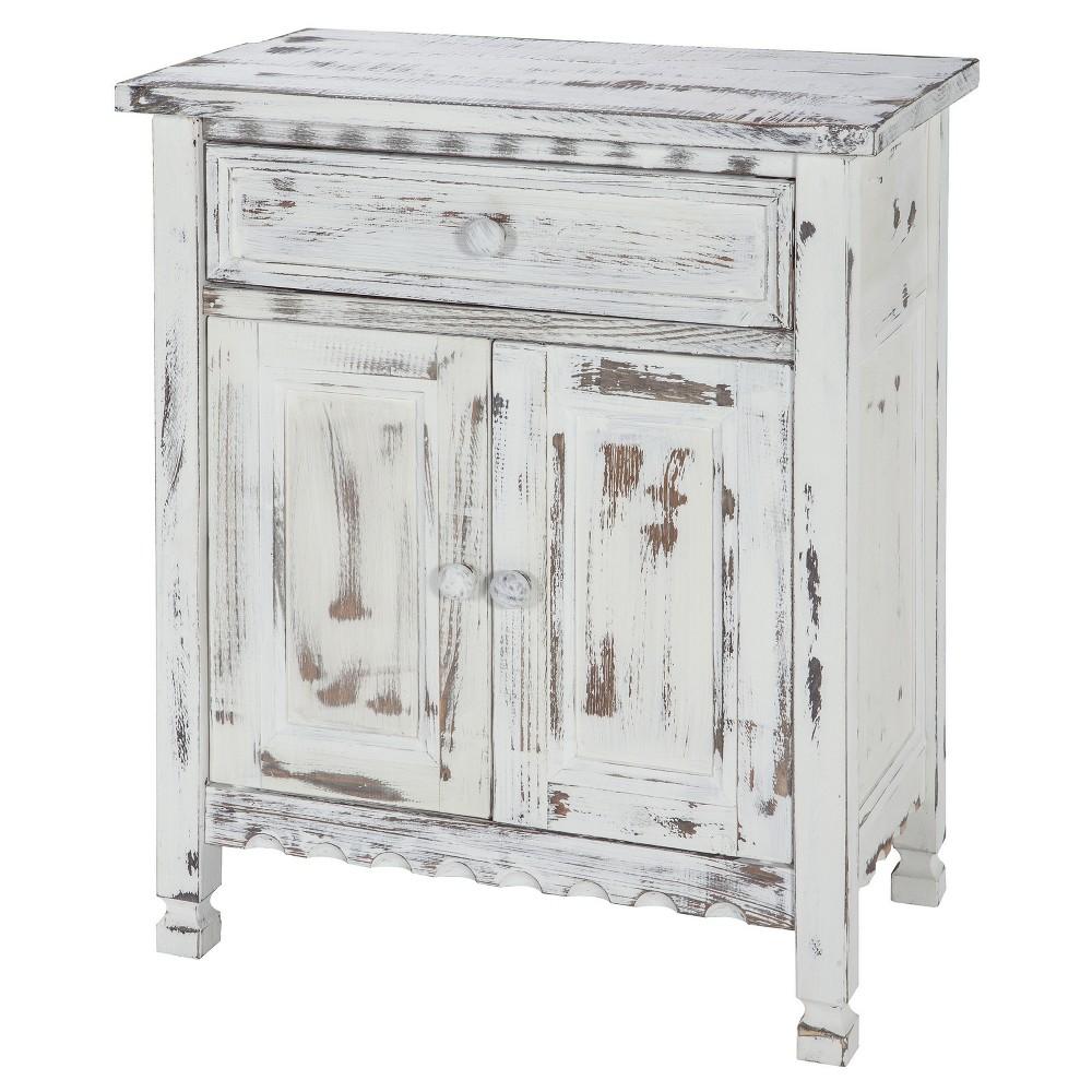 Image of 1-drawer Storage Cabinet Hardwood White - Alaterre Furniture