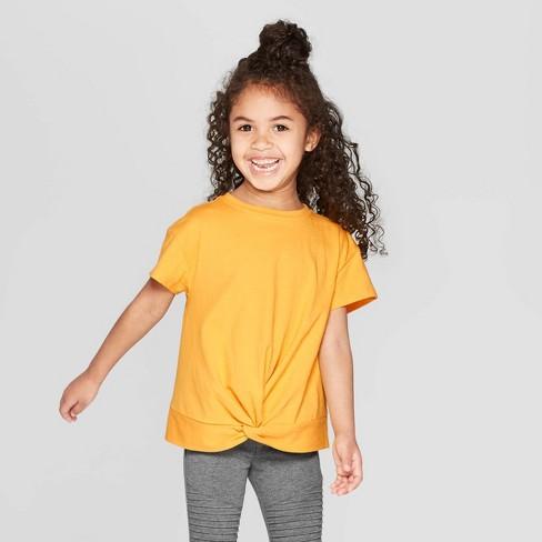 Toddler Girls' Short Sleeve Front Twist T-Shirt - art class™ Gold 12M - image 1 of 3
