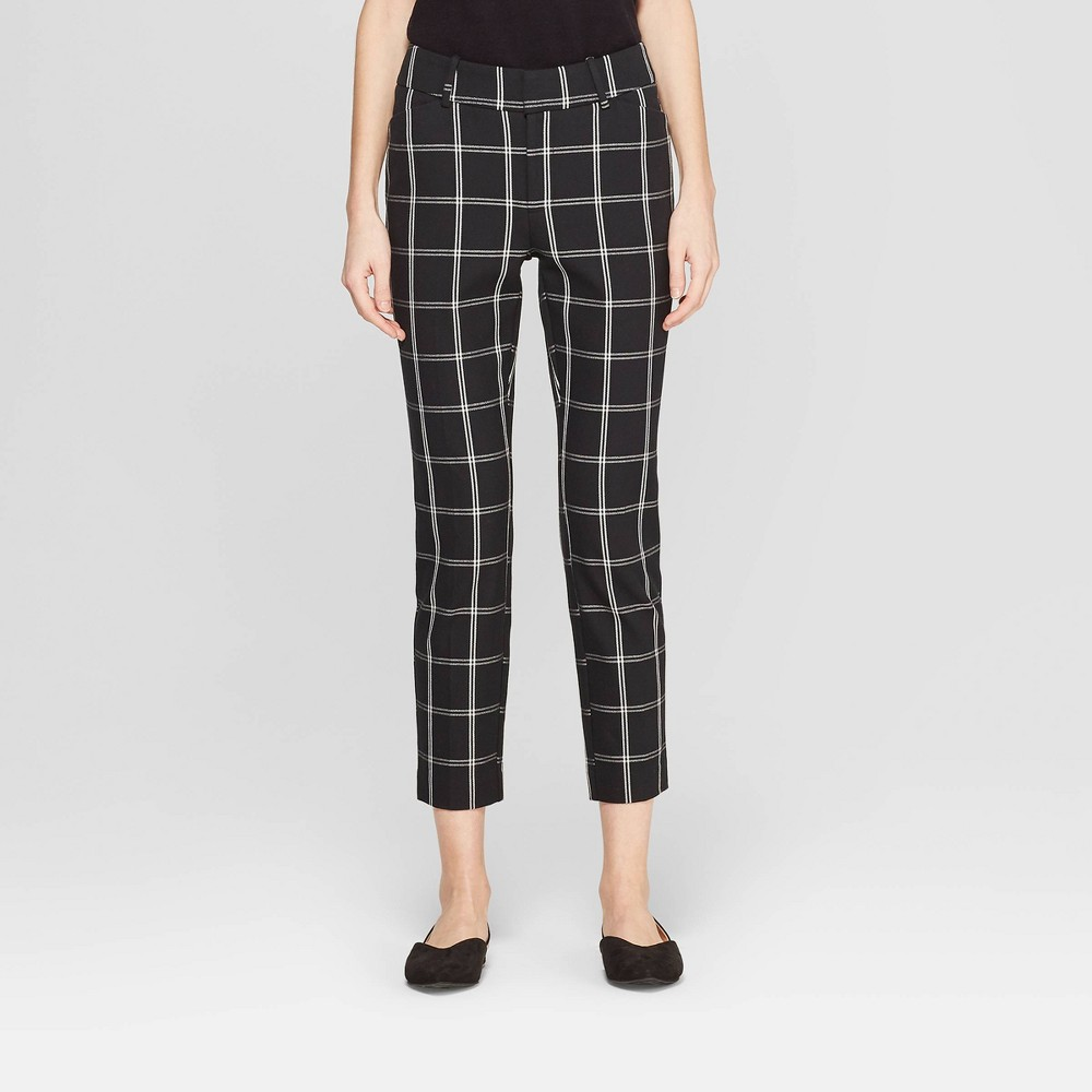 Image of Women's Plaid High-Rise Skinny Ankle Pants - A New Day Black/White 18