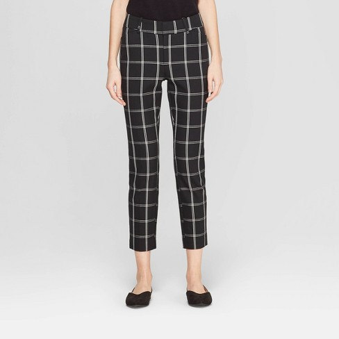 Women's Plaid High-Rise Skinny Ankle Pants - A New Day™ Black/White 16 - image 1 of 3