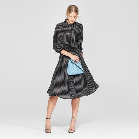 3cf2f0a88ea Women s Striped Convertible Sleeve Midi Shirtdress - Who What Wear ...