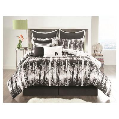 Woodland Comforter Set Queen Black 6 Piece - VCNY®