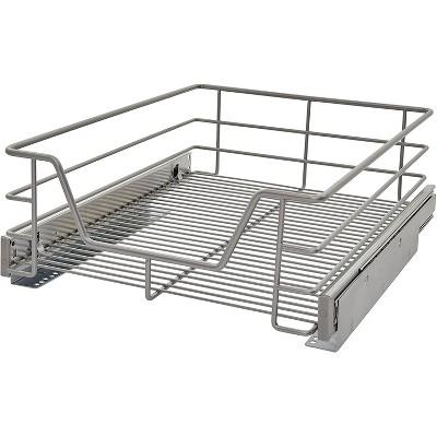 ClosetMaid 3210000 14.5 Inch Wide Kitchen and Bathroom Bottom Single Tier Cabinet Pull Out Basket Organizer, Steel Platinum