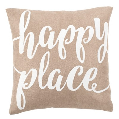 Happy Place Square Throw Pillow Taupe/White - Safavieh
