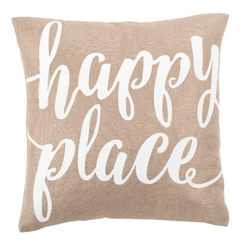 Happy Place Square Throw Pillow Taupe/White - Safavieh - image 1 of 3