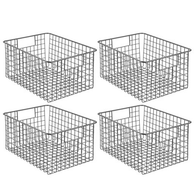 mDesign Bath Metal Storage Organizer Basket - 4 Pack