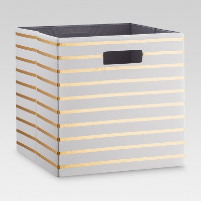 Fabric Cube Storage Bin White/Gold Stripe 13  - Threshold™