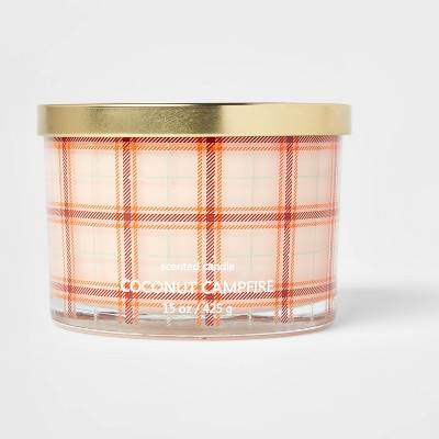 15oz Lidded Glass Jar Plaid 3-Wick Coconut Campfire Candle - Opalhouse™