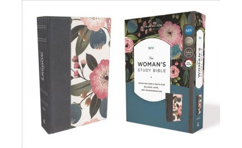 Woman's Study Bible : New International Version, Blue Floral, Cloth Over Board -  (Hardcover) - image 1 of 1