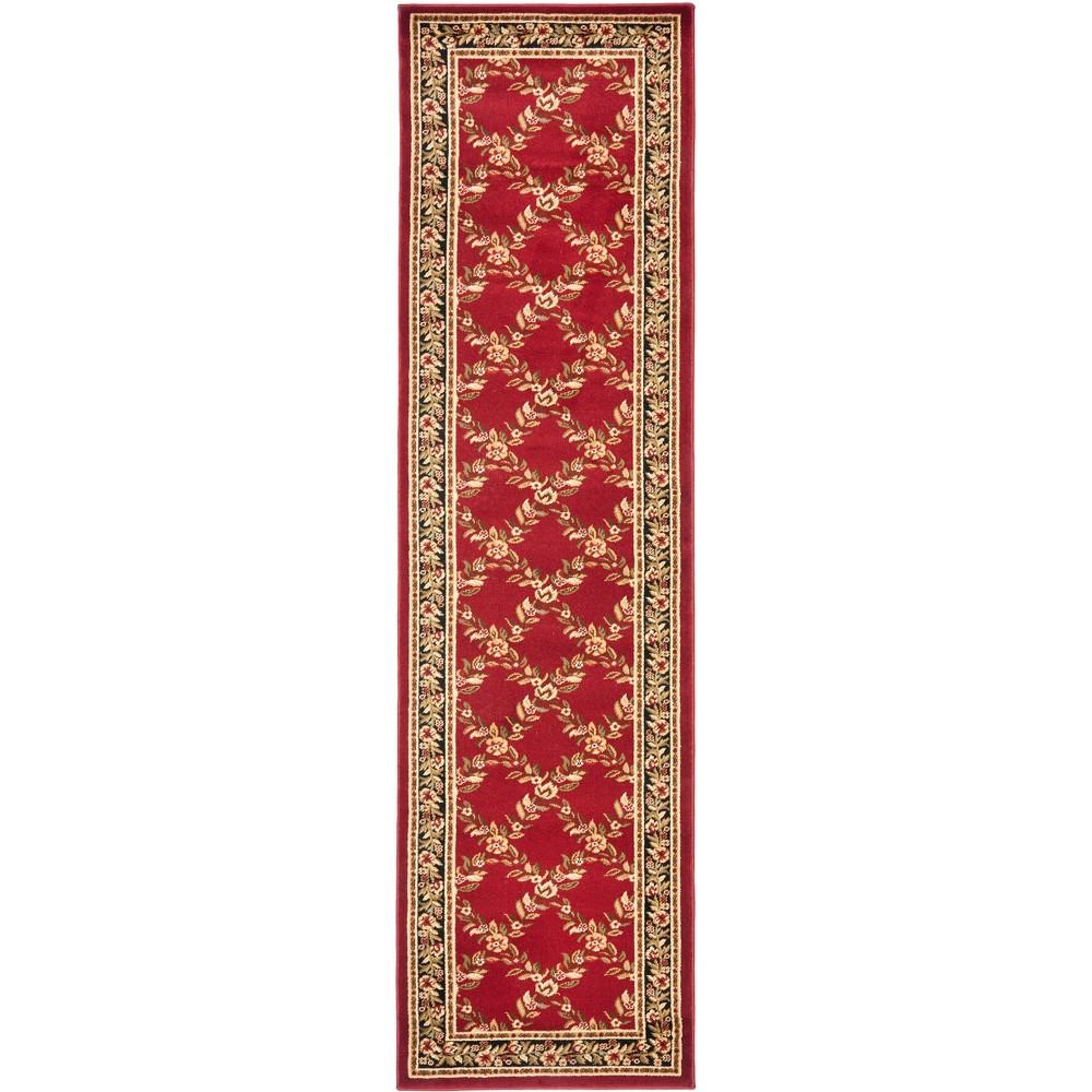 2'3X12' Loomed Floral Runner Rug Red - Safavieh, Red/Black