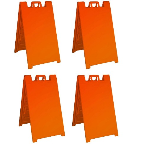 Plasticade Signicade A Frame Portable Folding Sidewalk Sign with Molded Plastic Handle for Yard Sales, Events, and More, Orange (4 Pack) - image 1 of 2