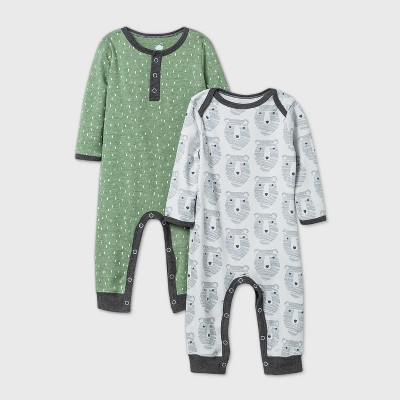 Baby Boys' 2pk Little Cub Romper - Cloud Island™ Olive Green 3-6M