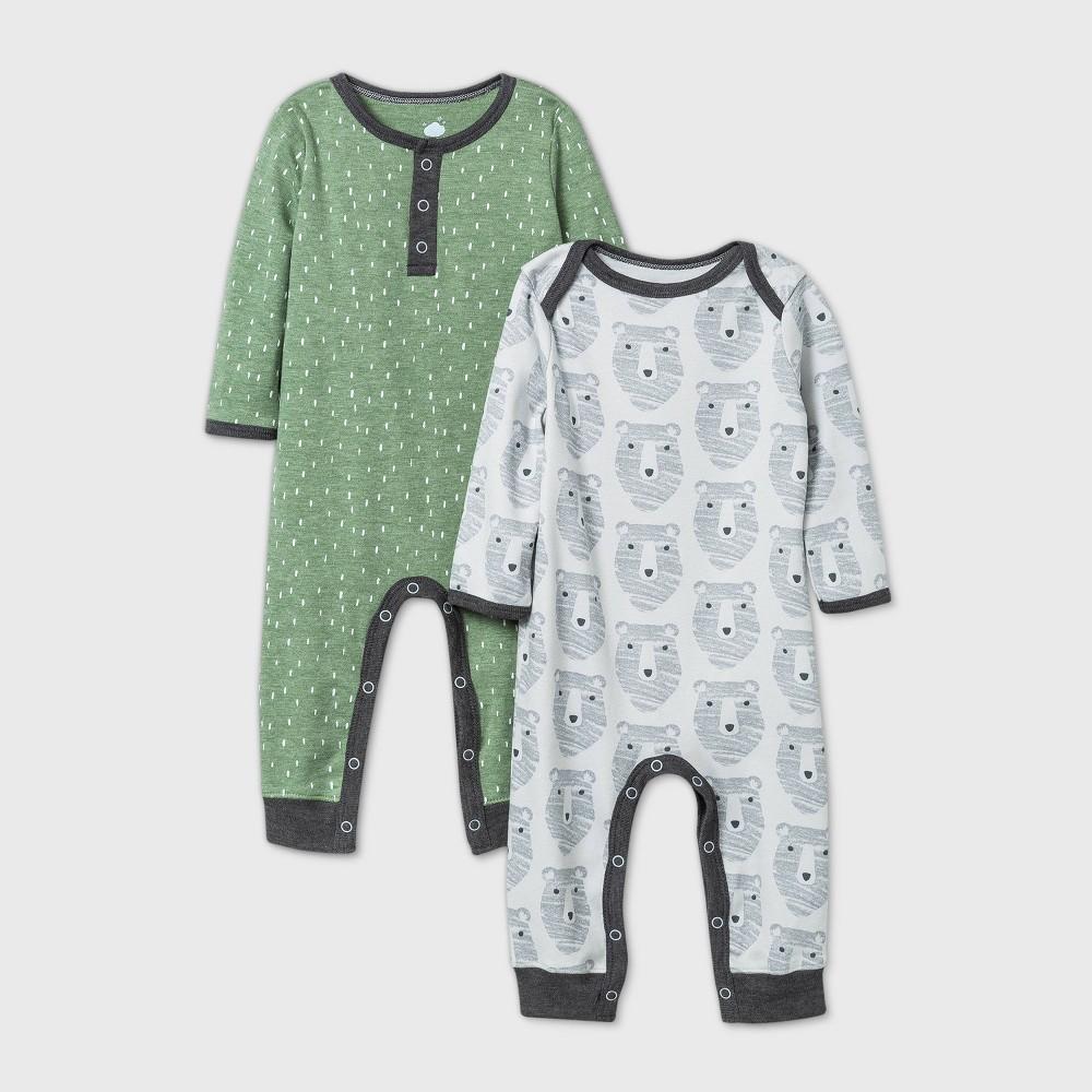 Discounts Baby Boys' 2pk Little Cub Romper - Cloud Island™ Olive Green