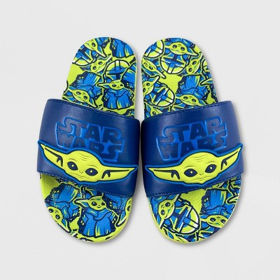 Boys' Disney Star Wars Baby Yoda Slide Sandals - Green - Disney Store