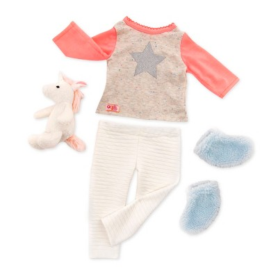 """Our Generation Pajama Outfit with Plush Unicorn for 18"""" Dolls - Unicorn Wishes"""