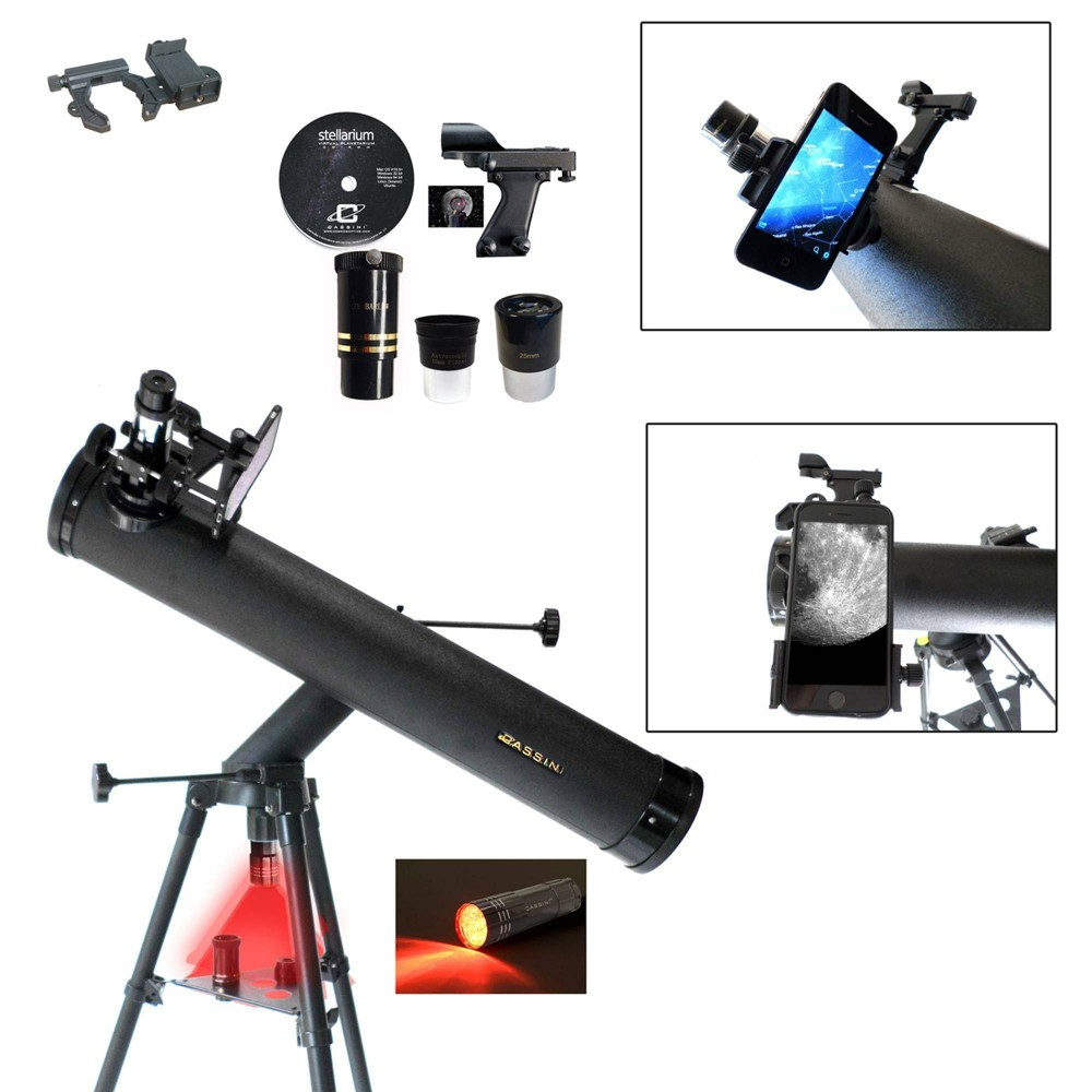 Image of Cassini C-SS80 800mm x 80mm Astronomical Reflector Telescope with Smartphone Photo Adapter - Black