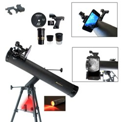 Cassini C-SS80 800mm x 80mm Astronomical Reflector Telescope with Smartphone Photo Adapter - Black